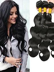 cheap -3 Bundles Brazilian Hair Wavy Human Hair Natural Color Hair Weaves / Hair Bulk Human Hair Extensions 8-28 inch Natural Color Human Hair Weaves Fashionable Design Best Quality Hot Sale Human Hair / 8A