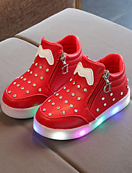 cheap -Boys' / Girls' LED / Bootie / LED Shoes PU Boots Toddler(9m-4ys) / Little Kids(4-7ys) / Big Kids(7years +) Chain / LED / Luminous White / Black / Red Spring &  Fall / Booties / Ankle Boots