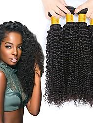 cheap -4 Bundles Brazilian Hair Curly Human Hair Natural Color Hair Weaves / Hair Bulk Human Hair Extensions 8-28 inch Natural Color Human Hair Weaves Fashionable Design Best Quality For Black Women Human