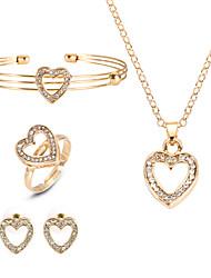 cheap -Women's Necklace Earrings Bracelet Cross Body Heart European Fashion Rhinestone Earrings Jewelry Gold For Party / Ring