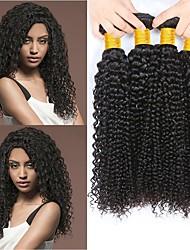 cheap -4 Bundles Indian Hair Curly Human Hair Natural Color Hair Weaves / Hair Bulk Human Hair Extensions 8-28 inch Natural Color Human Hair Weaves Fashionable Design Best Quality For Black Women Human Hair