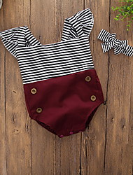 cheap -Baby Girls' Vintage / Active Daily / Holiday Solid Colored / Striped Stripe Short Sleeves Bodysuit Wine / Toddler