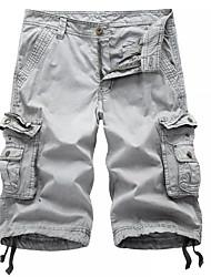 abordables -Homme Militaire Quotidien Ample Chino / Short / Pantalon cargo Pantalon - Couleur Pleine Gris Foncé Gris Kaki 34 36 38