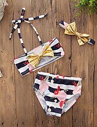 cheap -Kids Girls' Active Holiday Beach Striped Floral Bow Sleeveless Swimwear Black