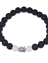 abordables -Bracelet à Perles Femme Cristal Résine Chouette dames Rétro Vintage Mode Bracelet Bijoux Noir pour Quotidien Ecole
