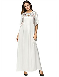 cheap -Women's Maxi Beige Dress Basic Summer Daily Abaya Embroidered M L Loose / Cotton