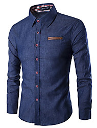 cheap -Men's Daily Holiday Basic Shirt - Solid Colored Patchwork Light Blue / Long Sleeve / Spring / Summer