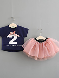 cheap -Baby Girls' Vintage Daily Black & White Solid Colored Pleated Short Sleeve Regular Regular Linen Clothing Set White / Toddler