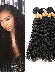 Недорогие -3 Связки Малазийские волосы Кудрявый Натуральные волосы 150 g Человека ткет Волосы Удлинитель 8-28 дюймовый Черный Естественный цвет Ткет человеческих волос Лучшее качество 100% девственница вьющийся