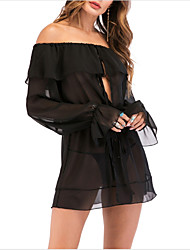 cheap -Women's Mini Little Black Dress - Long Sleeve Solid Colored Boat Neck Party Going out Slim Off Shoulder Black M L XL XXL / Sexy