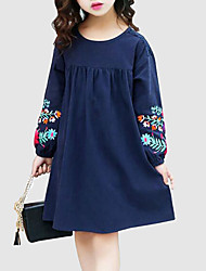 cheap -Kids Girls' Sweet Street chic Daily Going out Floral Embroidered Long Sleeve Dress Navy Blue / Cotton