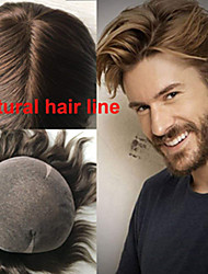 cheap -Men's Human Hair Toupees Straight Full Lace Soft / Bleached Knots / Dark Gray