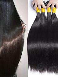 cheap -4 Bundles Brazilian Hair Straight Human Hair Natural Color Hair Weaves / Hair Bulk Human Hair Extensions 8-28 inch Natural Color Human Hair Weaves Fashionable Design Best Quality For Black Women / 8A