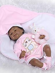 Недорогие -NPKCOLLECTION NPK DOLL Куклы реборн Дети Африканская кукла 18 дюймовый Очаровательный Новый дизайн Искусственная имплантация Коричневые глаза Детские Универсальные / Девочки Игрушки Подарок