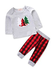 cheap -Baby Boys' Casual / Active Daily / Holiday Print Print Long Sleeve Long Cashmere Clothing Set Light gray