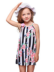 cheap -Kids Girls' Vintage Sweet Daily Going out Sun Flower Floral Print Sleeveless Above Knee Dress White / Cotton