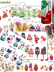 cheap -18 pcs Full Nail Stickers nail art Manicure Pedicure Colorful Nail Decals Wedding / Party / Dailywear