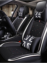 cheap -Black white British style Car Seat Cover with 2 headrest,2 waist cushions and 1 steering wheel sleeve for 5 seat car/PU Leather and Ice Silk materials/Airbag compatible/Adjustable