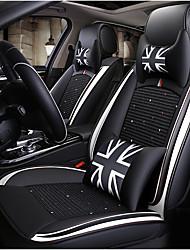 Недорогие -Черно-белый британский автомобильный чехол на сиденье с 2 подголовниками, 2 подушками на талию и 1 рулевым колесом для 5