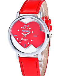 cheap -Women's Wrist Watch Quartz Quilted PU Leather Red / Pink Casual Watch Analog Ladies Heart shape Fashion - Red Pink