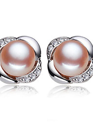 cheap -Women's Cubic Zirconia Freshwater Pearl Stud Earrings Solitaire Flower Ladies Natural Sweet Fashion Stainless Steel S925 Sterling Silver Freshwater Pearl Earrings Jewelry White / Pink For Wedding