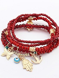 cheap -5pcs Women's Bead Bracelet Layered Stack Butterfly Ladies Bohemian Fashion Boho Multi Layer Resin Bracelet Jewelry Black / Red / Green For Ceremony Office & Career