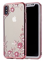 cheap -Case For Apple iPhone X / iPhone 8 Plus / iPhone 8 Rhinestone / Plating Back Cover Flower Soft TPU
