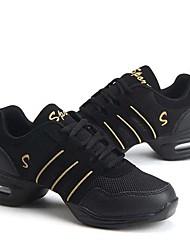 cheap -Women's Dance Shoes Synthetics Dance Sneakers Splicing Sneaker Thick Heel Customizable Black / Gold / Black / Red / Black / White / Practice / EU40