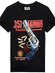 cheap -Men's Graphic Letter Print Slim T-shirt - Cotton Basic Beach Weekend Round Neck Black / Short Sleeve