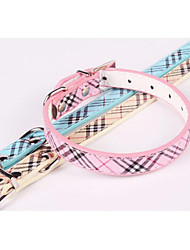 cheap -Dogs Cats Collar Portable Adjustable / Retractable Folding Plaid / Check Stripes PU Leather / Polyurethane Leather Blue Pink