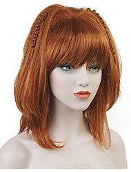 cheap -Synthetic Wig Straight Bob Wig Medium Length Synthetic Hair Women's 100% kanekalon hair Red StrongBeauty