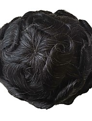 cheap -PANSY Grey Toupee Men Hairpiece French Lace Human Hair Replacement Wig Toupee Natural Looking 8x10inch jet black Mix 20% grey hair