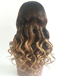 cheap -Virgin Human Hair Lace Front Wig Layered Haircut Beyonce style Brazilian Hair Wavy Blonde Wig 130% Density with Baby Hair Ombre Hair Dark Roots Women's Short Medium Length Long Human Hair Lace Wig