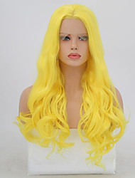cheap -Synthetic Lace Front Wig Wavy Layered Haircut Lace Front Wig Blonde Long Yellow Synthetic Hair Women's Natural Hairline Blonde