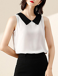 cheap -Women's Daily Blouse - Solid Colored Shirt Collar White