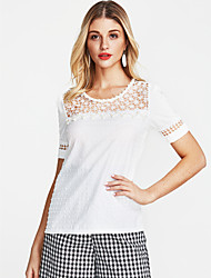 cheap -Women's Daily Going out Street chic Cotton T-shirt - Solid Colored V Neck Beige / Spring / Summer / Lace
