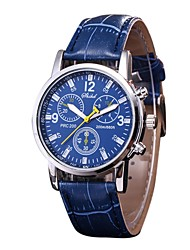 cheap -Couple's Wrist Watch Quartz Quilted PU Leather Black / White / Blue Chronograph Casual Watch Analog Classic Bangle Minimalist - Brown Blue Silver / Black One Year Battery Life