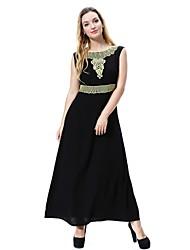 cheap -Women's Maternity Daily Weekend Vintage Midi Swing Abaya Jalabiya Dress Spring Wool Black Purple Fuchsia XL XXL XXXL