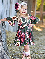 cheap -Baby Girls' Active / Basic Holiday / Going out Floral / Print Pleated / Print Half Sleeve 60-70 cm Dress Army Green / Toddler