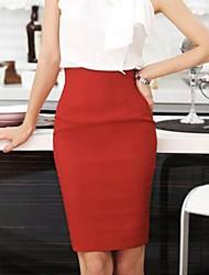 cheap -Women's Work Street chic Plus Size Bodycon Skirts - Solid Colored Split Red Yellow Wine XL XXXL XXL / Sexy