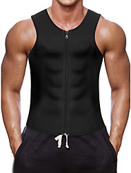 cheap -Sweat Vest Waist Trainer Vest Neoprene Tank Top Sports Neoprene Yoga Gym Workout Exercise & Fitness Zipper Weight Loss Tummy Fat Burner For Men's Abdomen
