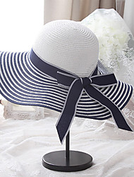 cheap -Women's Basic Holiday Straw Straw Hat-Color Block Summer Black White Blue