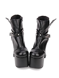 cheap -Women's Lolita Shoes Boots Punk Lolita Gothic Chunky Heel Shoes Solid Colored 12.5 cm Black PU(Polyurethane) Halloween Costumes