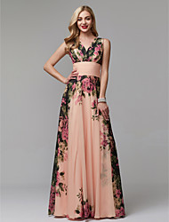 cheap -A-Line Floral Pink Holiday Wedding Guest Dress V Neck Sleeveless Floor Length Chiffon with Pattern / Print 2020