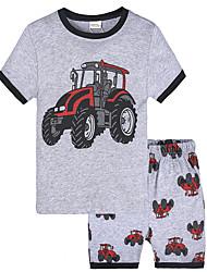cheap -Toddler Boys' Sleepwear T-shirt & Shorts Clothing Set Short Sleeve Gray Print Graphic Car Cotton School Daily Active Vintage Comfortable Regular 3 - 6 years / Summer