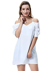 cheap -Women's Mini Above Knee Maternity Wine Purple Dress Summer Holiday Beach Shirt Solid Colored S M