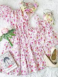 baratos -Mamãe e eu Fúcsia Activo Floral Franzido Manga Curta Vestido