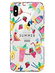 cheap -Case For Apple iPhone X / iPhone 8 Plus / iPhone 8 Transparent / Pattern Back Cover Food / Ice Cream Soft TPU
