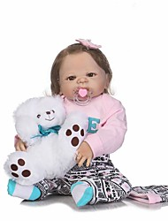 cheap -NPKCOLLECTION NPK DOLL Reborn Doll Girl Doll Baby Girl 24 inch Full Body Silicone Silicone - Newborn lifelike Child Safe Non Toxic Tipped and Sealed Nails Natural Skin Tone Kid's Girls' Toy Gift