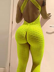 abordables -Femme Sexy Basique Legging - Couleur Pleine, Maille Taille haute Noir Orange Jaune S M L